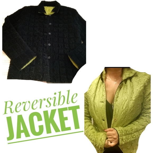 no brand Jackets & Blazers - Black Green Reversible Velour Waist Jacket Sweater